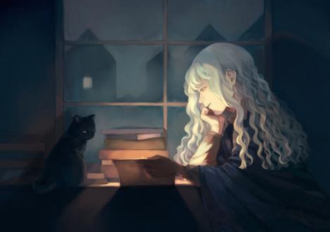 Обои Девушка читает книгу, сидя за столом, на котором сидит черный кот