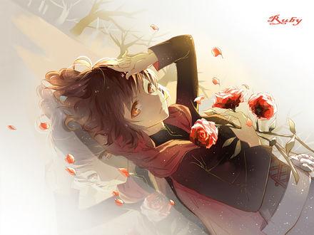 Обои Руби Роуз / Ruby Rose из аниме Красный, Белый, Черный, Желтый / Red White Black Yellow / RWBY с розами лежит на зеркальной поверхности