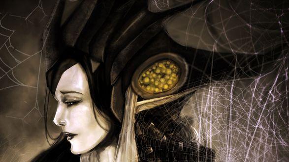 Обои Девушка королева в головном уборе и в паутине