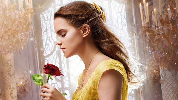Обои Emma Watson / Эмма Уотсон-британская киноактриса и модель в образе Принцессы Бель / Belle c розой в руке. Кадр из фильма Красавица и чудовище