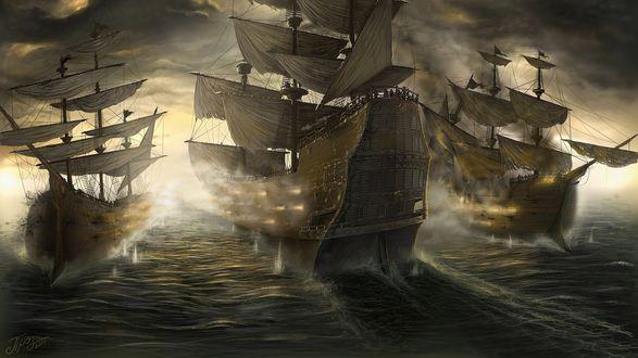Обои Корабли с парусами в море на закате в тумане