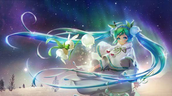 Обои Vocaloid Hatsune Miku / Вокалоид Хатсунэ Мику с белым кроликом стоит зимней ночью на фоне северного сияния, by Orry Lee