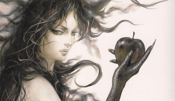 Обои Ева с рукой змеи и волосами Горгоны с яблоком в руке. Castlevania