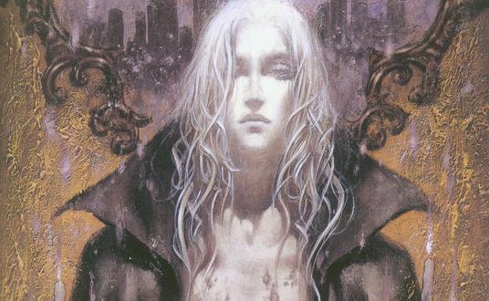 Обои Парень блондин с влажными волосами и голой грудью на фоне зеркала, где отражается город, на фоне обшарпанной стены. Castlevania