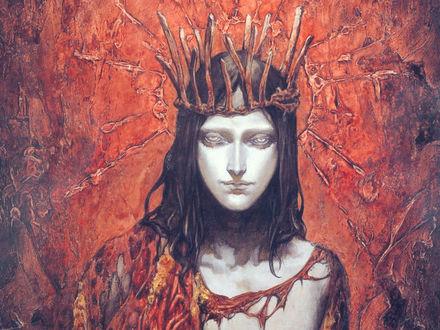 Обои Парень с темными волосами в короне из веток и рваной тоге на фоне красной обшарпанной стены из игры Castlevania