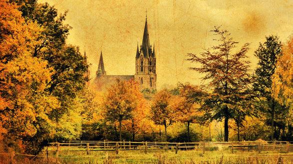 Обои Старая церковь среди деревьев с желтыми осенними листьями, by suicidecrew