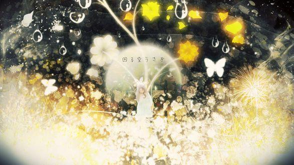 Обои для рабочего стола Девушка в окружении цветов и бабочек, by Y_Y (© zmeiy),Добавлено: 11.09.2017 09:22:45