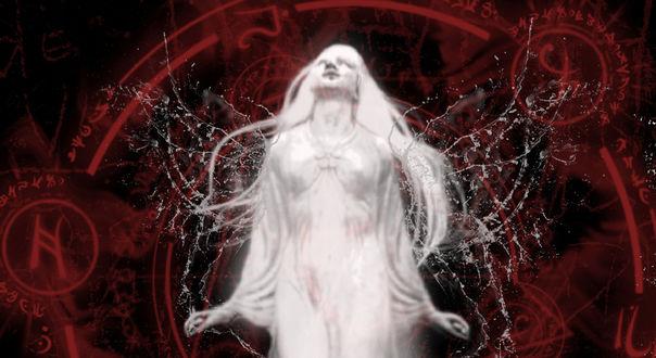 Обои Девушка в белом пытается взлететь на фоне алхимических красных знаков, by silentfuneral