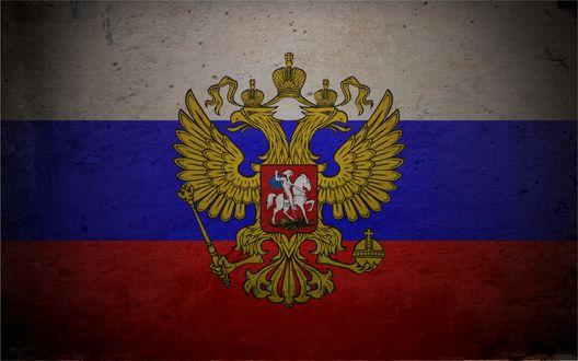 Обои Российский трехцветный флаг с гербом в тени