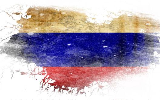 Обои Трехцветный российский флаг, размазанный на белом фоне