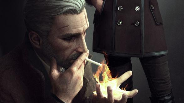 Обои Персонаж Ведьмак / Witcher закуривает сигарету от фаербола, иллюстратор-фрилансер Астор Александер