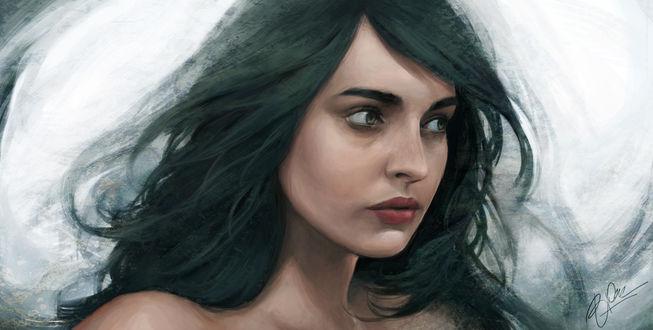 Обои Портрет темноволосой девушки, by Oephy