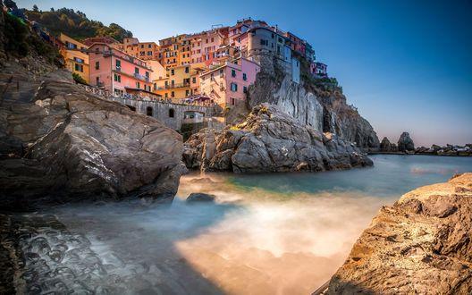 Обои Город на скале Манарола / Manarola, Италия / Italy