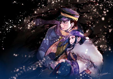 Обои Парень в военной форме со шрамом на лице спасает девочку из аниме Golden Kamuy / Золотой Камуй