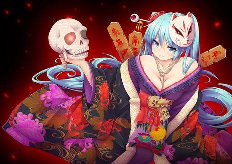 Обои Девушка в кимоно с маской на голове держит в руке человеческий череп, Kyuubi kitsune