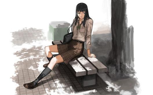 Обои Девочка Yukari Hayasaka / Хаясака Юкари в грязной одежде сидит на скамейке возле дерева и мусорного бака, аниме Paradise Kiss / Райский поцелуй
