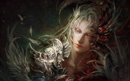 Обои Юноша - эльф со светлыми волосами и красноватыми глазами в перьях снял железную маску, художник Guangjian Huang