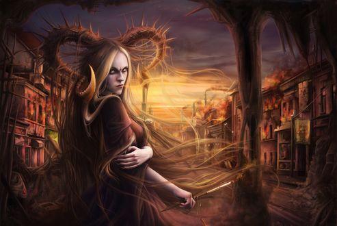Обои Демон с рогами и белыми волосами стоит с жезлом на фоне города на закате