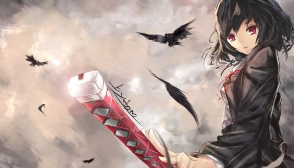 Обои Девочка аниме с каштановыми волосами и красными глазами на фоне неба с воронами держит красный складной предмет
