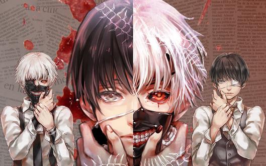 Обои Аниме Tokyo Ghoul / Токийский гуль. Ken Kaneki - главный герой с маской скелета на лице и два его альтер-эго с повязками на лицах на фоне газет