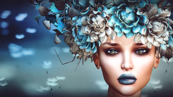 Обои Гламурная девушка с цветами на голове
