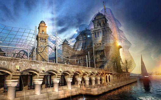 Обои Замок и мост на реке с парусом и радугой