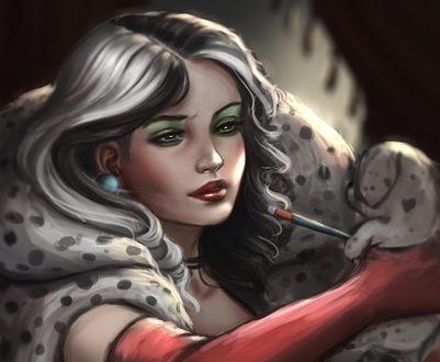 Обои Cruella de Vil со щенком в руках, by Whails