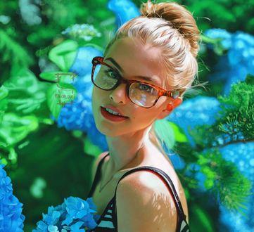Обои Девушка в очках стоит среди голубых гортензий, by Ameur Makhloufi