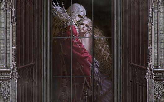 Обои Парень с белыми волосами и девушка обнимаются за решеткой