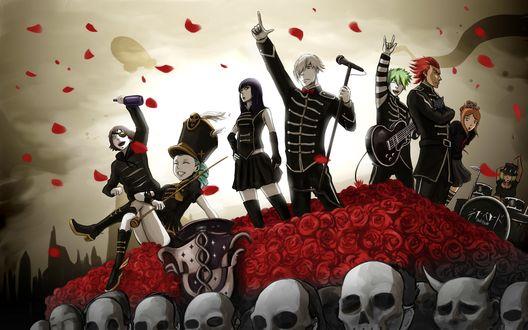 Обои Музыкальная группа персонажей аниме на сцене из роз и черепов