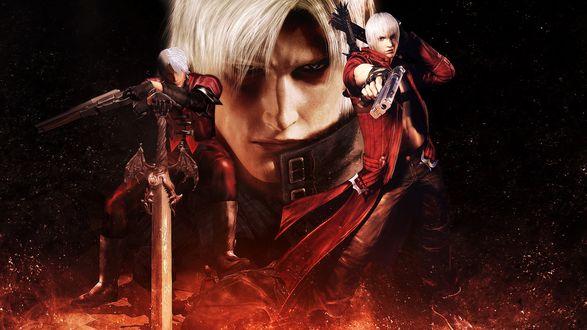 Обои Обои игры Devil may cry. Белокурый парень в красном с мечом