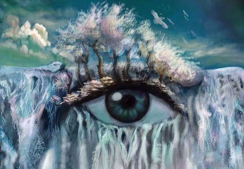 Обои Фантастический голубой глаз с изображением природы
