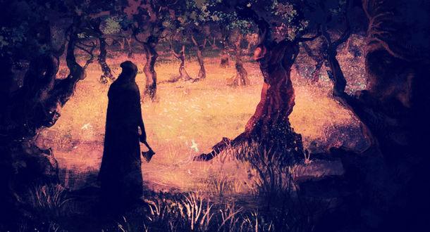 Обои Смерть с топором в лесу с освещенной лужайкой, by Rahmatozz