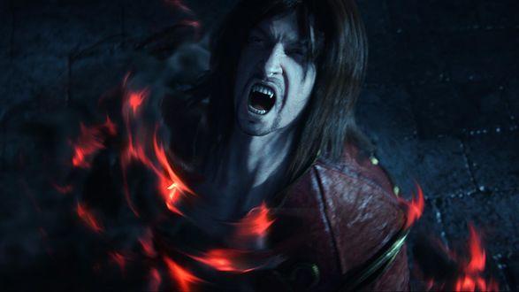 Обои Главный герой-вампир из игры Castlevania в огне