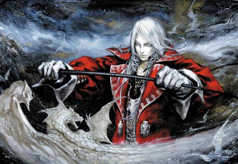 Обои Juste Belmont - герой из игры Castlevania с хлыстом среди драконов в небе, art by Ayami Kojima