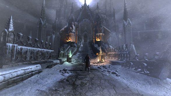 Обои Герой игры Castlevania возле замка с огнями на дороге