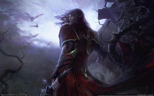 Обои Вампир из игры Castlevania на фоне феолетового неба и летучих мышей стоит среди деревьев с мечом