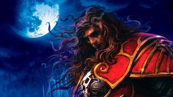 Обои Gabriel Belmont / Габриэль Бельмонт из игры Castlevania: Lords of Shadow в красных доспехах склонил голову под луной