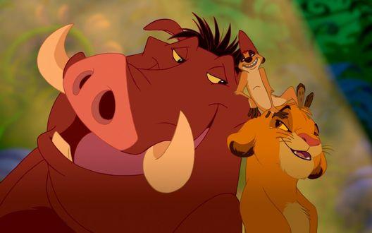 Обои Simba / Симба, Timon / Тимон и Pumba / Пумба из мультфильма The Lion King / Король Лев