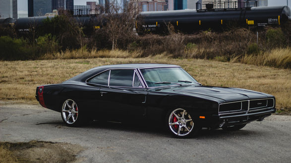 Обои Dodge Charger 1969 возле здания