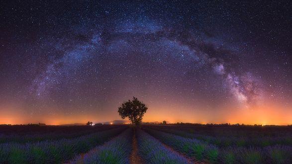 Обои Красивая ясная ночь в Provence France / Провансе Франции c млечным путем на небе, фотограф Albert Dros