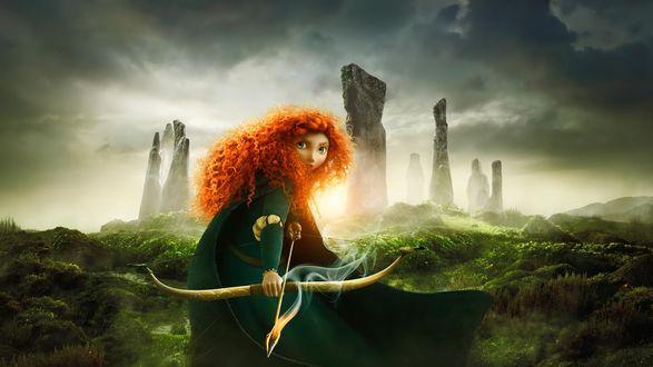 Обои Princess Merida / Принцесса Мерида из мультфильма Brave / Храбрая сердцем