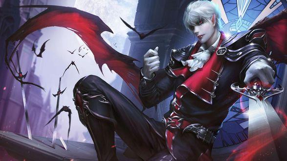 Обои Парень-вампир в военной форме с мечом в окружении летучих мышей, art by Ying Zhend