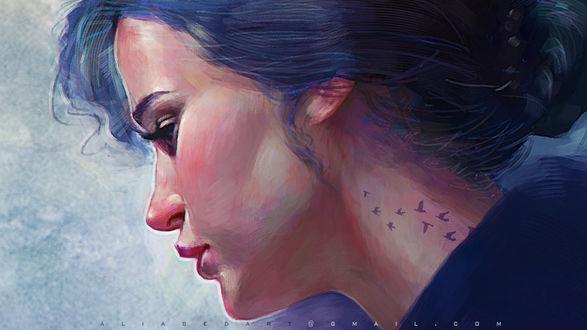 Обои Девушка в профиль с тату на шее в виде птичек, by ALI ABED