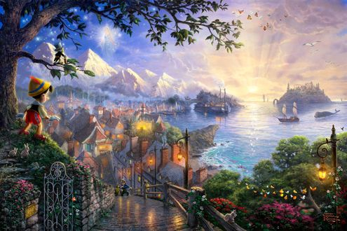 Обои Pinocchio / Пиноккио смотрит на развернувшийся пейзаж, мультфильм Пиноккио студии Disney / Уолта Диснея, художник Thomas Kinkade
