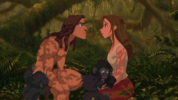 Обои Tarzan / Тарзан и Jane / Джейн играют с обезьянками, персонажи мультфильма Tarzan / Тарзан