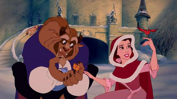 Обои Belle / Белль и Beast / Зверь смотрят на птиц, персонажи мультфильма Beauty and the Beast / Красавица и чудовище
