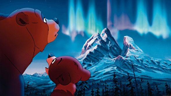Обои Kenai / Кенаи и Code / Кода из мультфильма Brother Bear / Братец медвежонок, смотрят на гору и северное сияние
