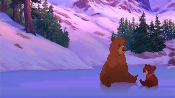 Обои Kenai / Кенаи и Code / Кода из мультфильма Brother Bear / Братец медвежонок, сидят на льду