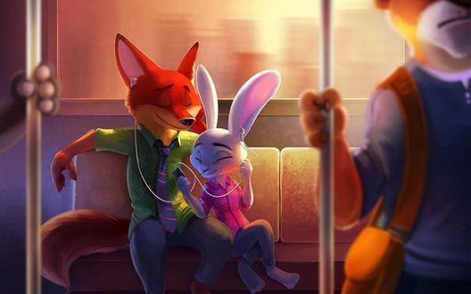 Обои Nick Wilde / Ник Уайльд и Judy Hopps / Джуди Хоппс едут в автобусе, мультфильм Zootopia / Зверополис, by TsaoShin